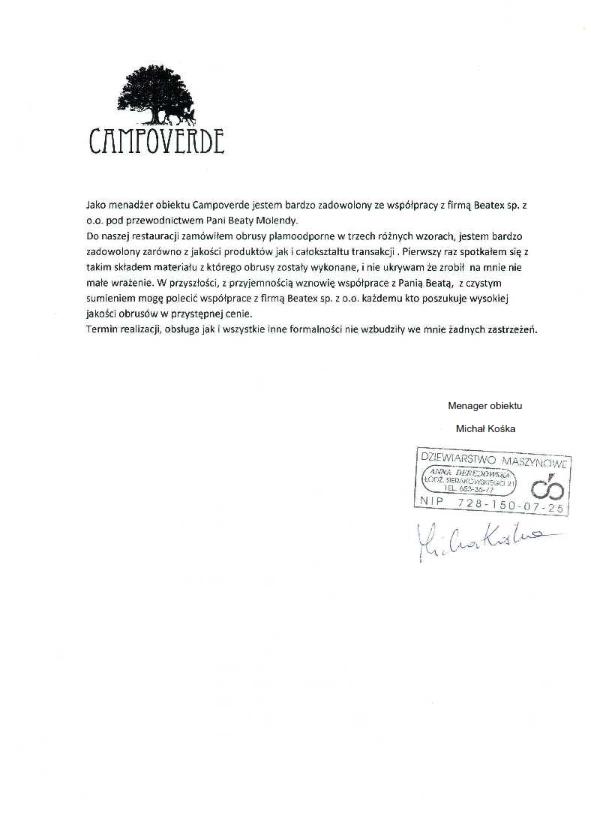 Referencje - Restauracja Campoverde
